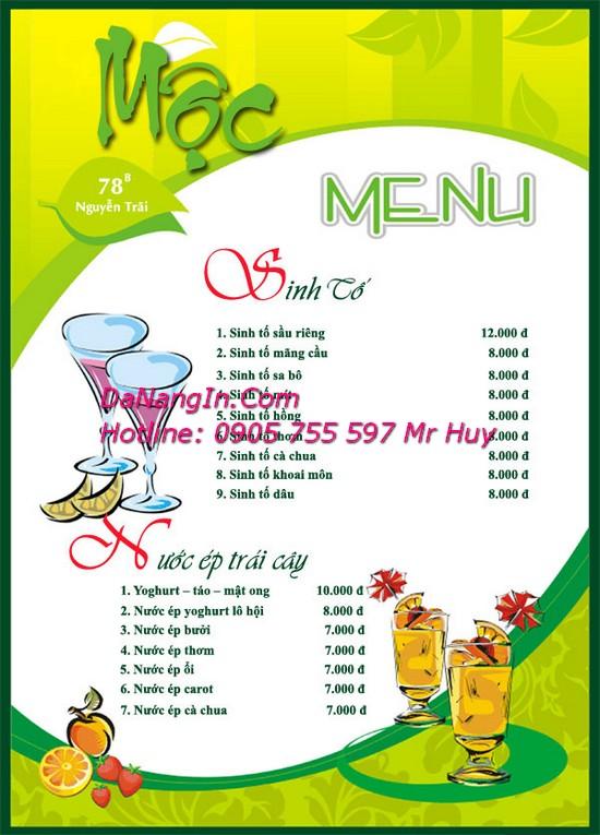 In menu nhà hàng quán nhậu bar cafe tại đà nẵng LH 0905 755 597 A Huy