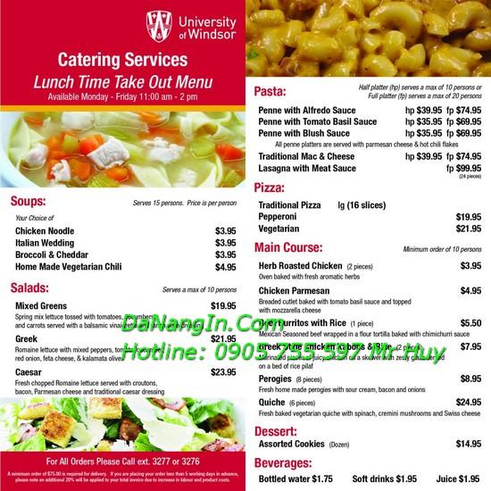 In menu thực đơn nhà hàng quán nhậu ăn vặt