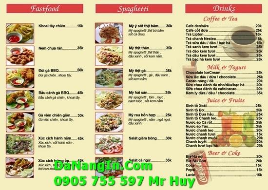 Làm Menu Quán Nhậu Ăn Vặt Cafe Tại Đà Nẵng 247