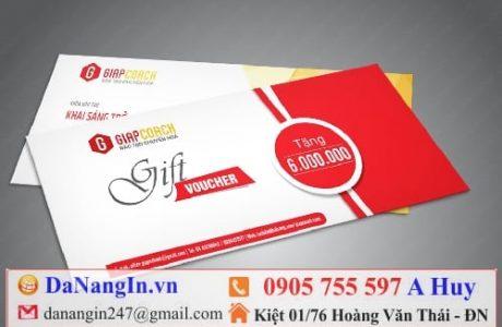 in voucher thẻ giảm giá nhà hàng resort cafe spa,LH 0905 7555 97 A Huy - danangin.vn,in name card lấy gấp,in bì thư,in tem bảo hành,dây đeo đầu cỗ vũ,in lụa