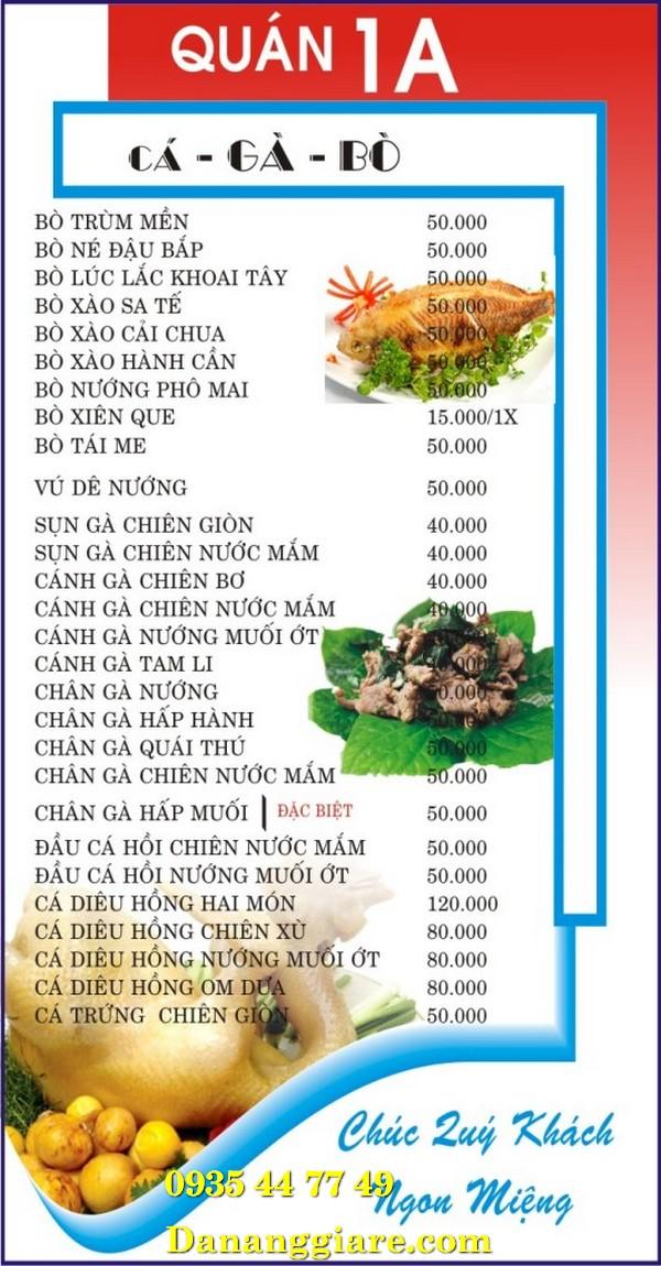 làm menu quán nhậu đà nẵng 0905 755 597 Mr Huy