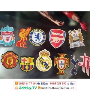 Logo rời bằng vải M.U, chelsea, arsenal, liverpool, barcelona, Real Barca ủi lên quần áo